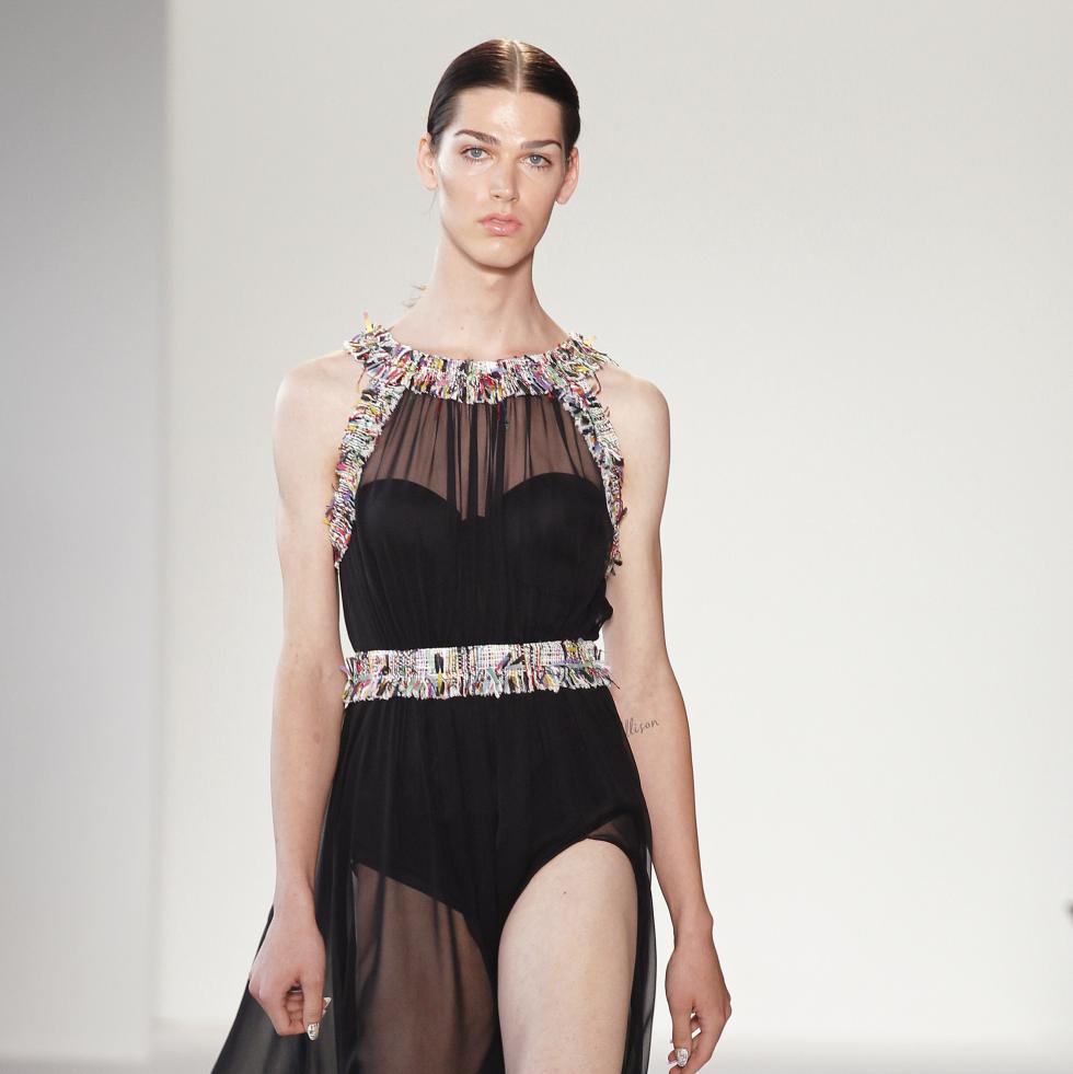 Transgender model Avie Acosta in Christian Siriano gown at runway show