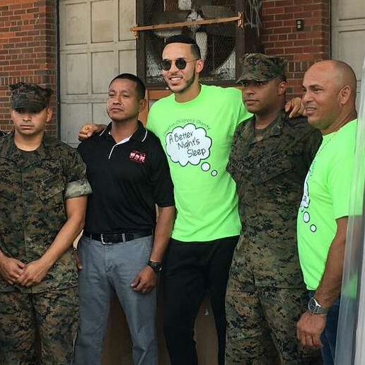 Carlos Correa with volunteers at bed distribution at Texas Mattress Makers for the Houston Children's Charity