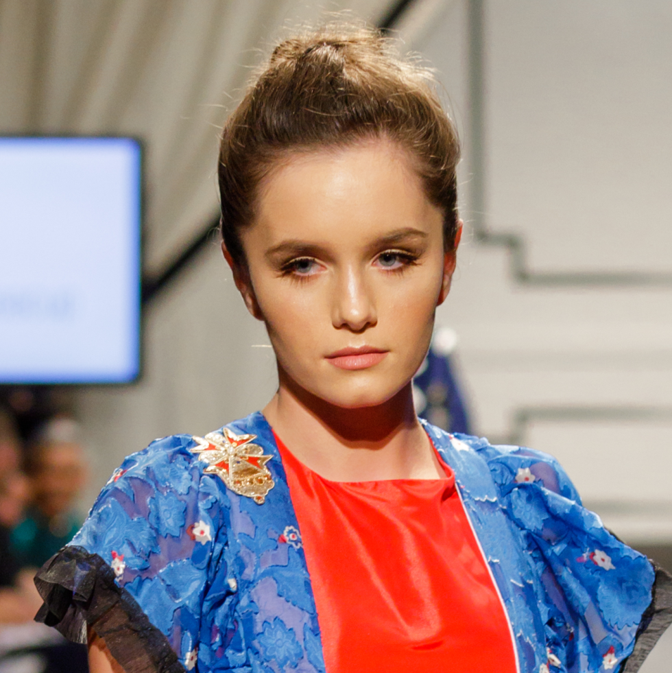 A model for Porcelain Teacup at Fashion X Houston