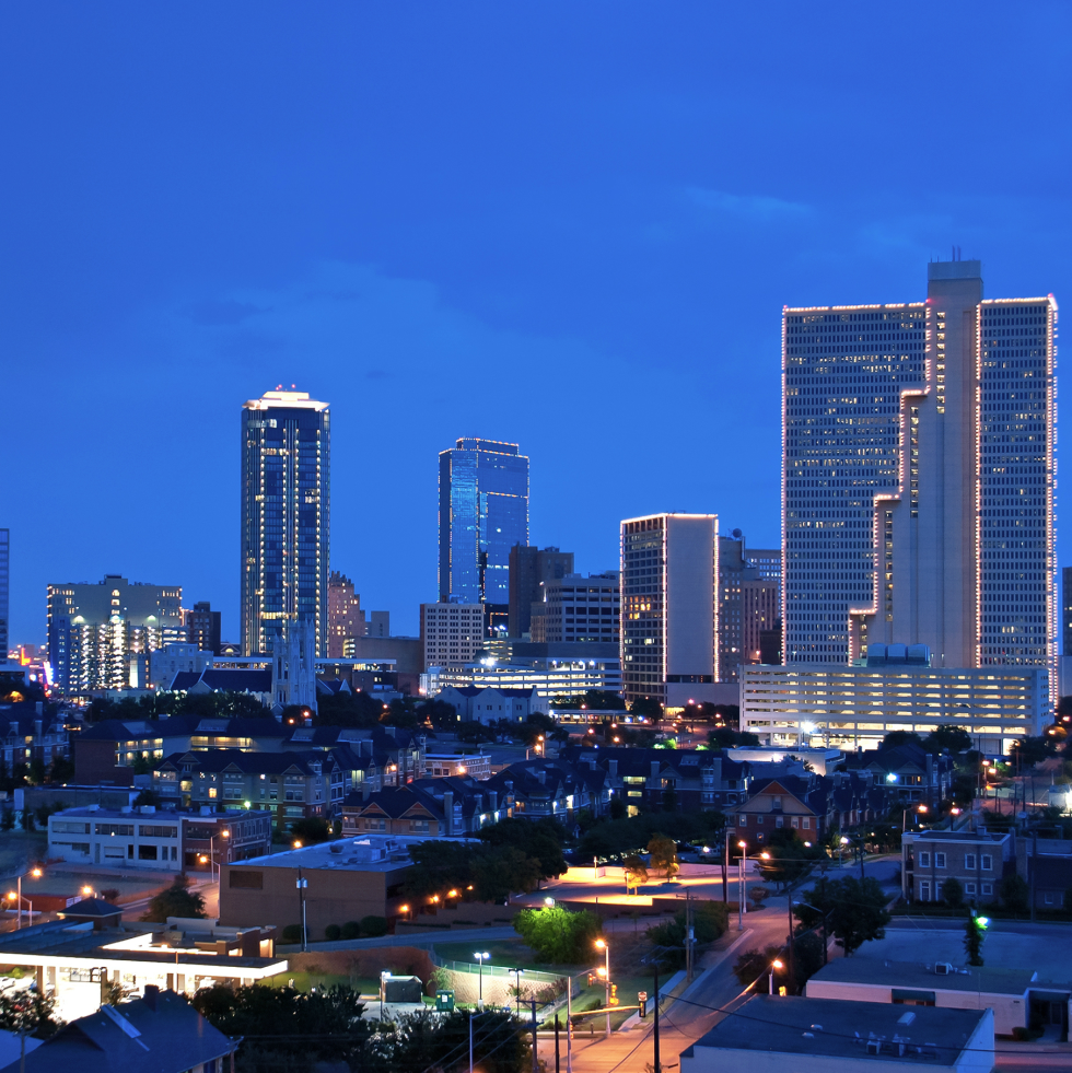 Fort Worth downtown skyline at night