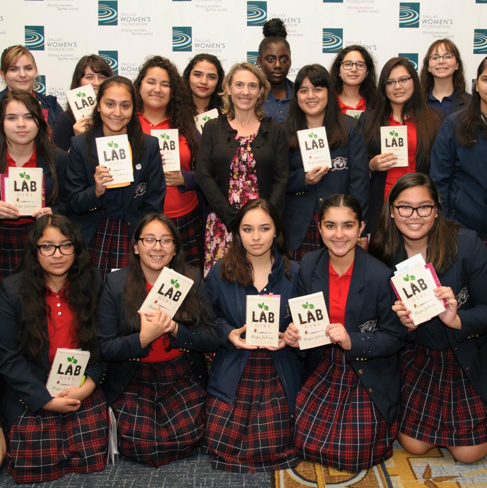 Roslyn Dawson Thompson with Young Women's Preparatory Network's Irma Rangel students