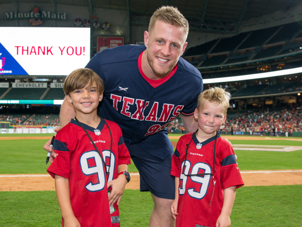 Houston, J.J. Watt Charity Classic, May 2017, JJ Watt and young fans