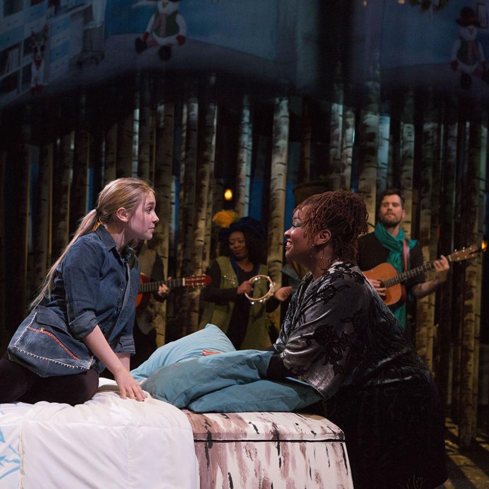 Sara Grace Prejean, M. Denise Lee, and cast of Theatre Three's Solstice