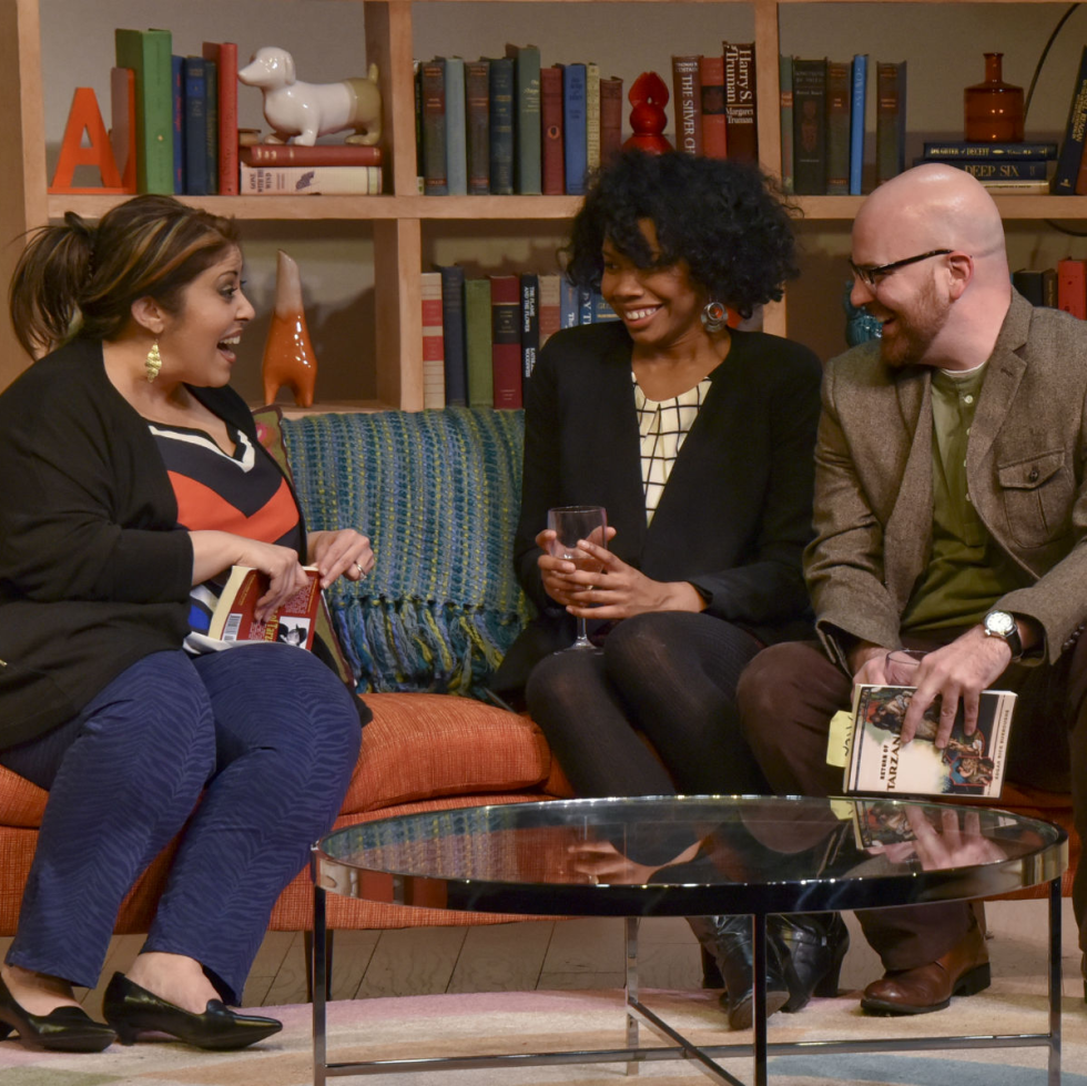 Christie Vela, Tiana Kaye Johnson and Brandon Potter in The Book Club Play from Dallas Theater Center