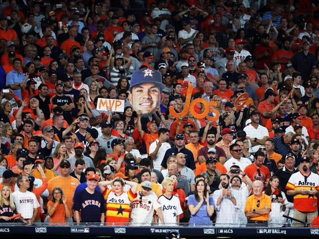Astros fans at a playoff game