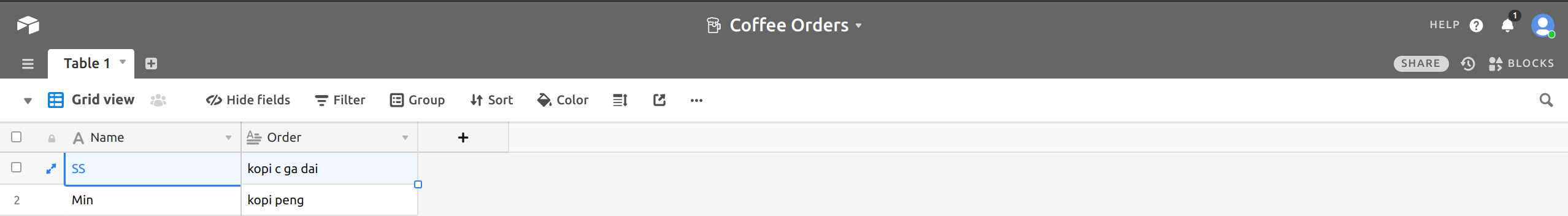 AirTable database for coffee app
