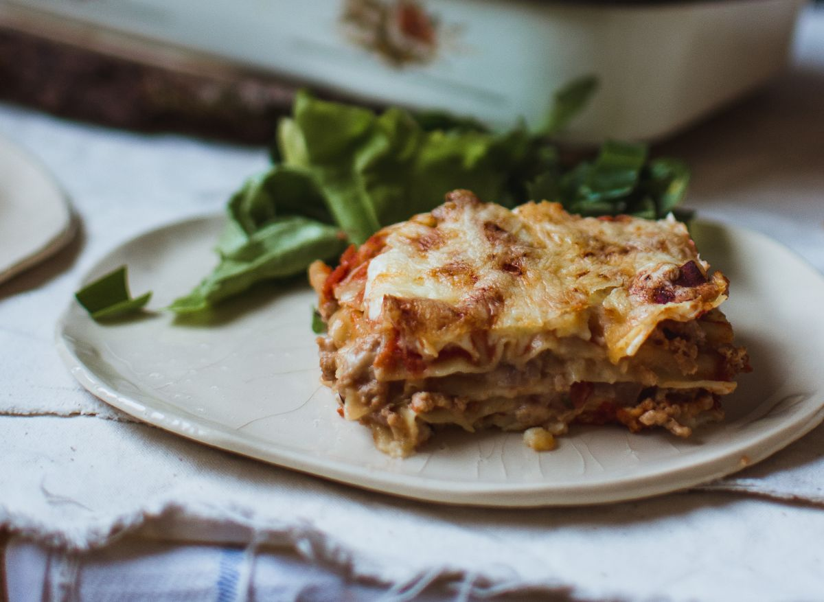 Amazing meatless lasagna (like the real one) served with some salad.