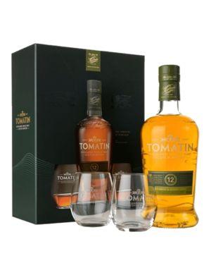 Coffret Tomatin 12 ans Ecosse / Highland Single Malt 43° + 2 verres