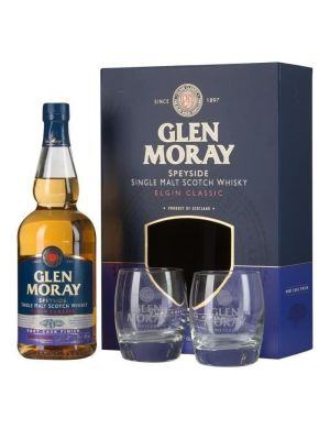 Coffret Glen Moray Port Cask Finish 40° + 2 verres