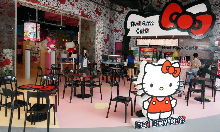 Red bow café mainly specializes on pastries and cookies accented with Hello Kitty faces.