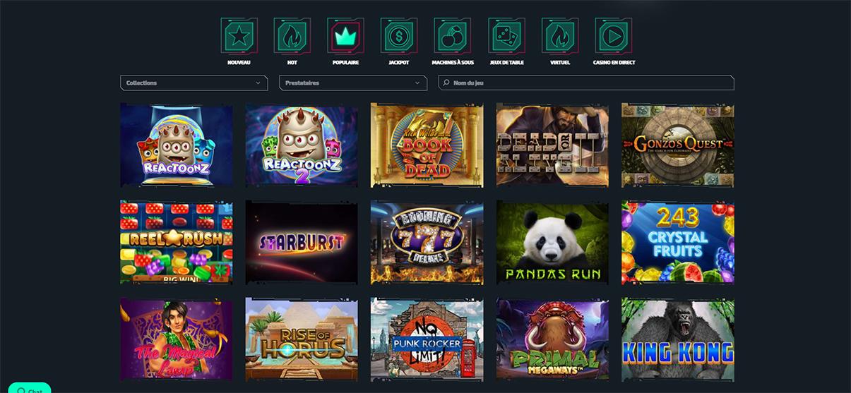 Image de présentation de la section casino de Casinozer