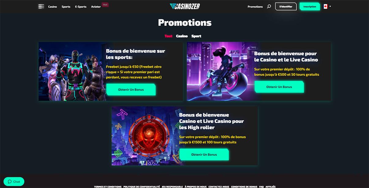 Image de présentation des bonus de bienvenue sur Casinozer