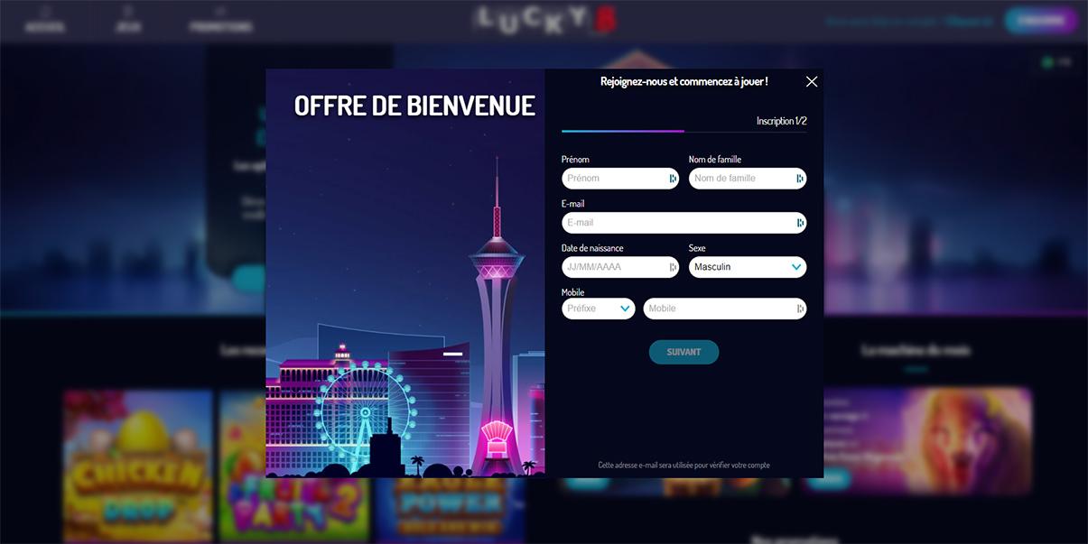 image de présentation inscription du casino Lucky8 en France