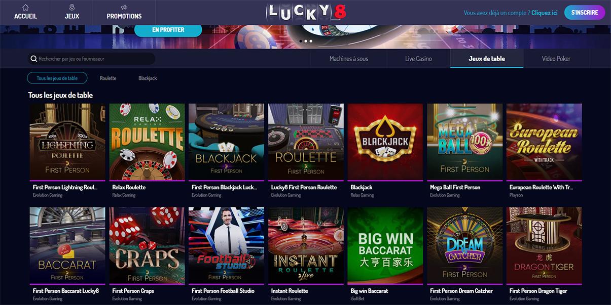 image de présentation des jeux de tables du casino Lucky8 en France