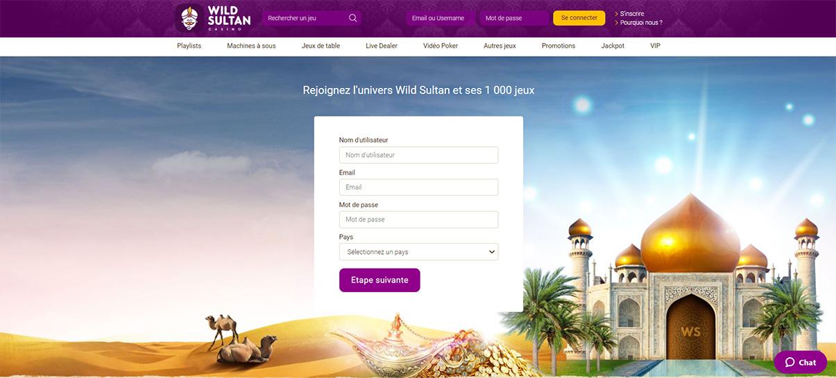 image de présentation isncription du casino Wild Sultan en France