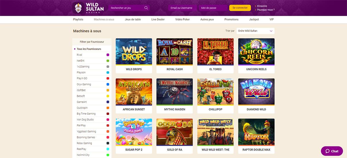 image de présentation machines a sous du casino Wild Sultan en France