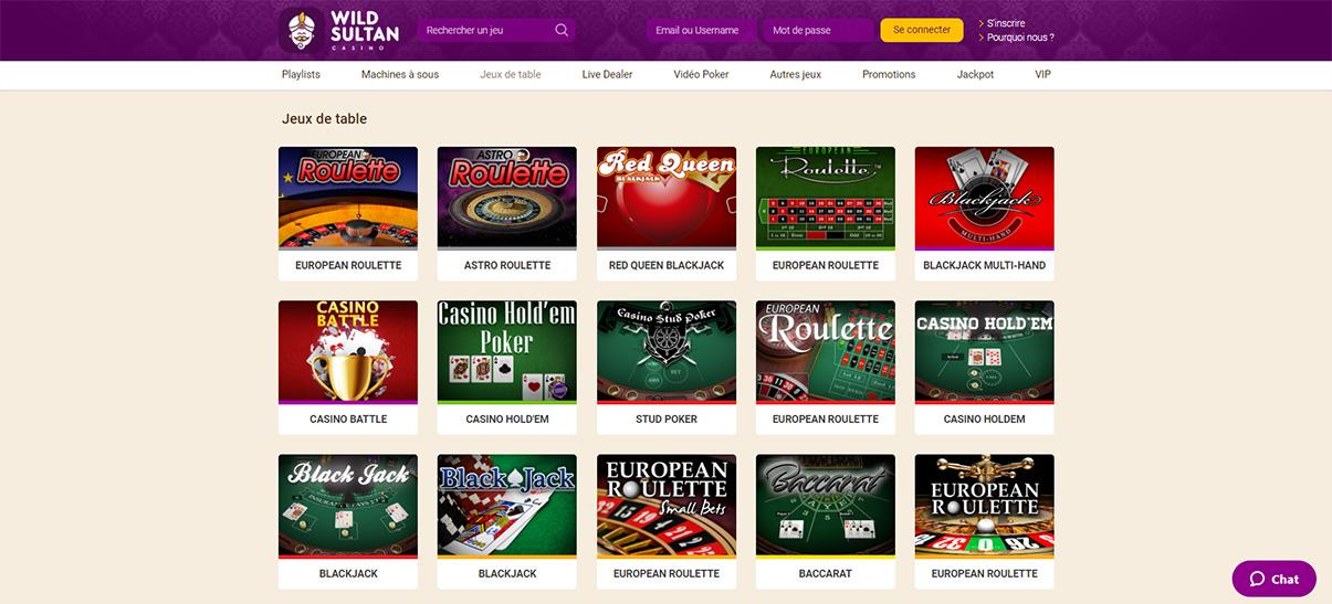 image de présentation jeux de table du casino Wild Sultan en France
