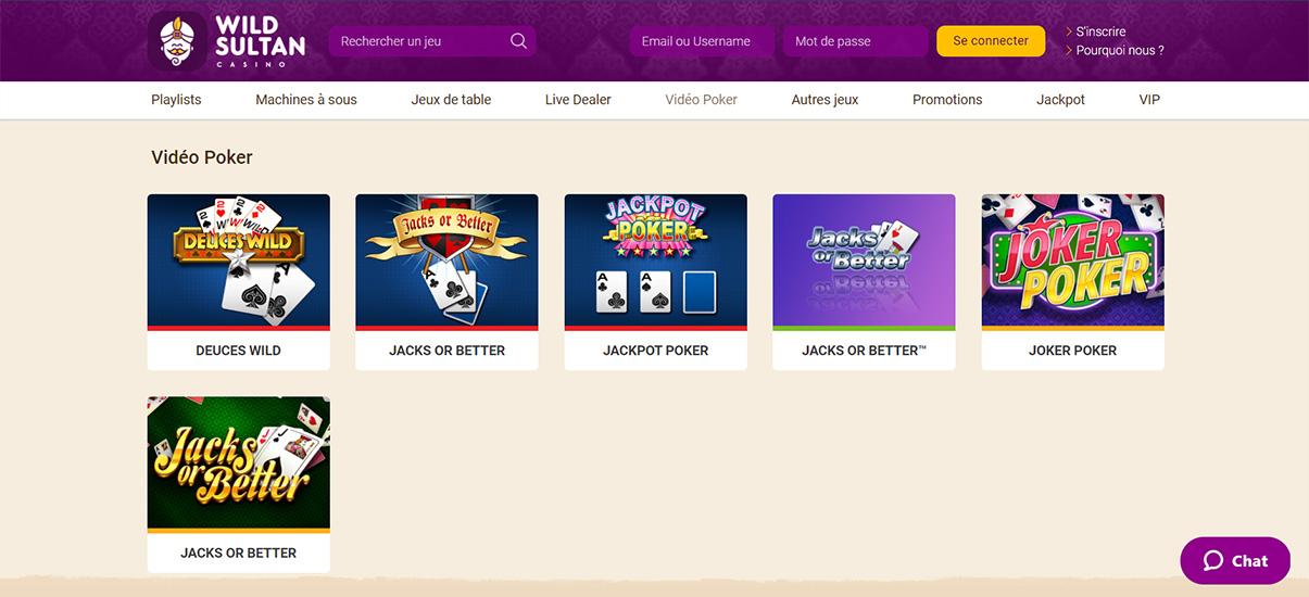 image de présentation video poker du casino Wild Sultan en France