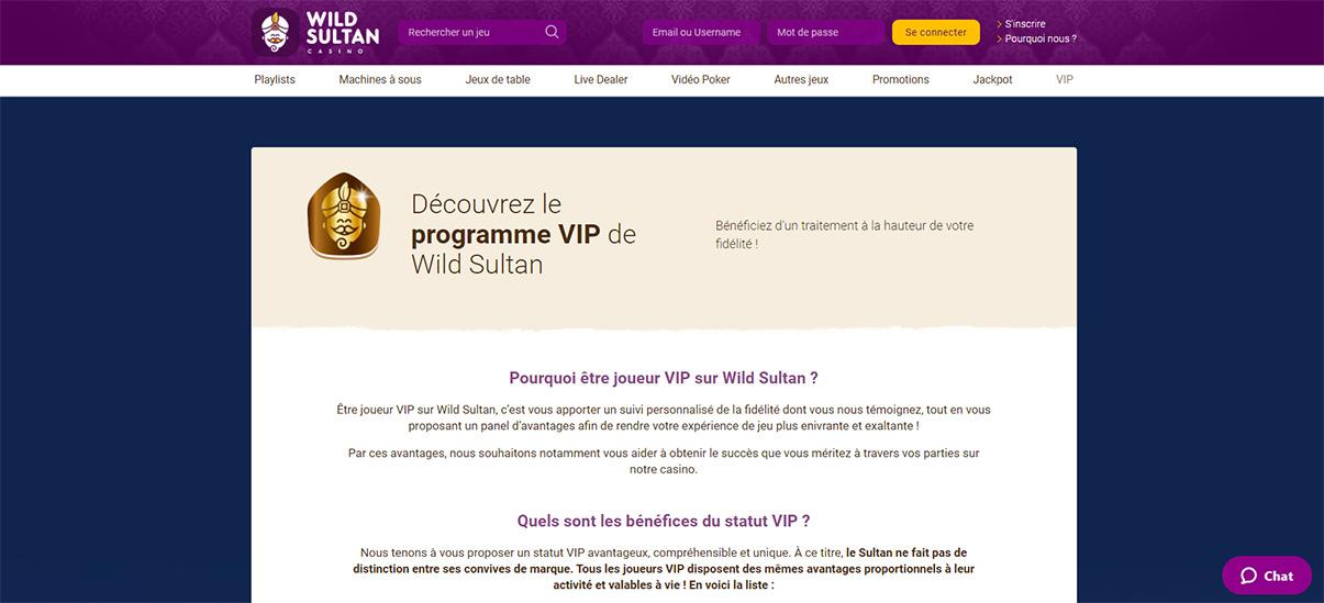 image de présentation programme VIP du casino Wild Sultan en France