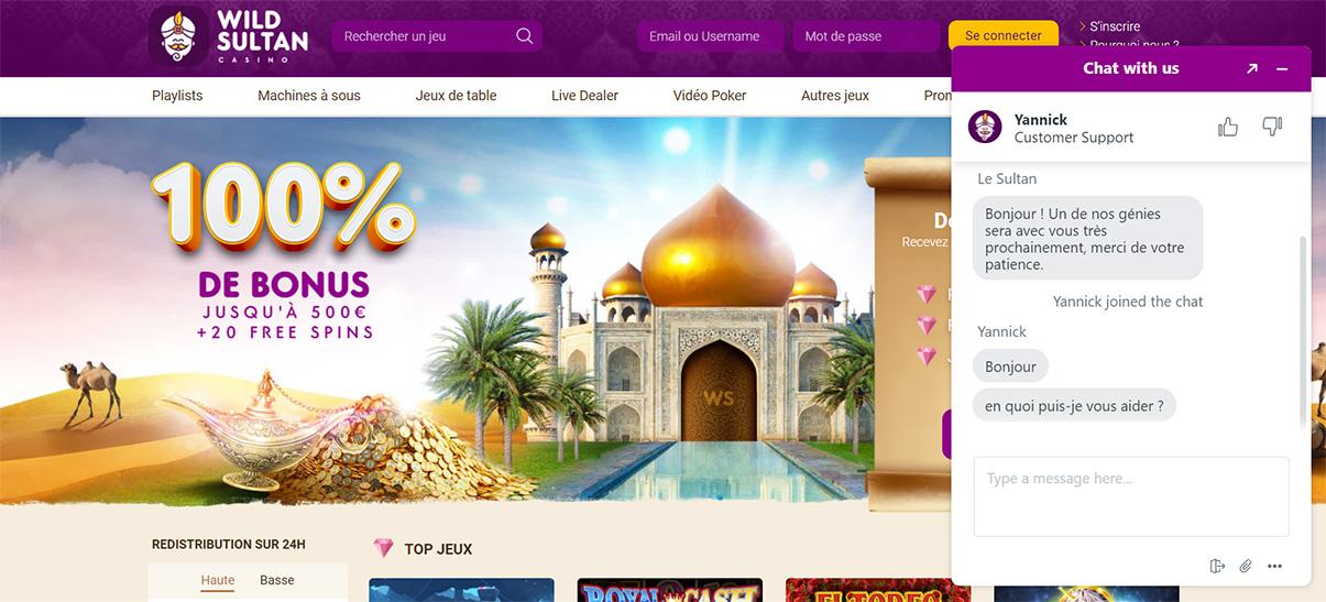image de présentation chat en ligne du casino Wild Sultan en France