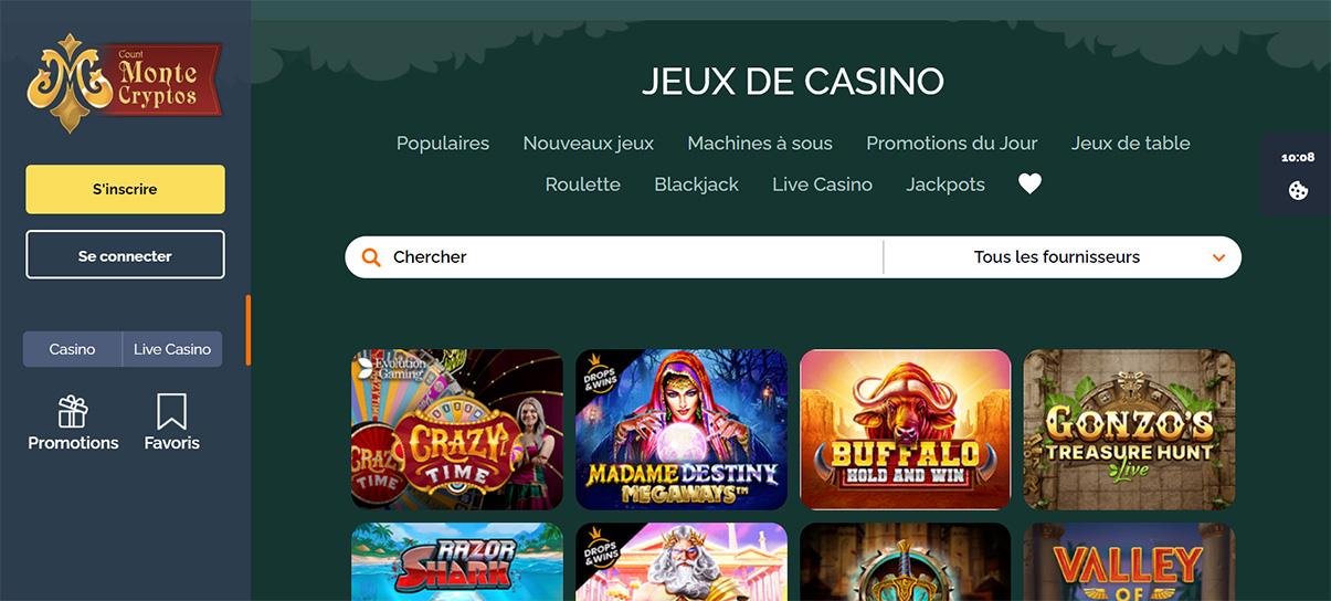 image de présentation jeux du casino Montecryptos en France