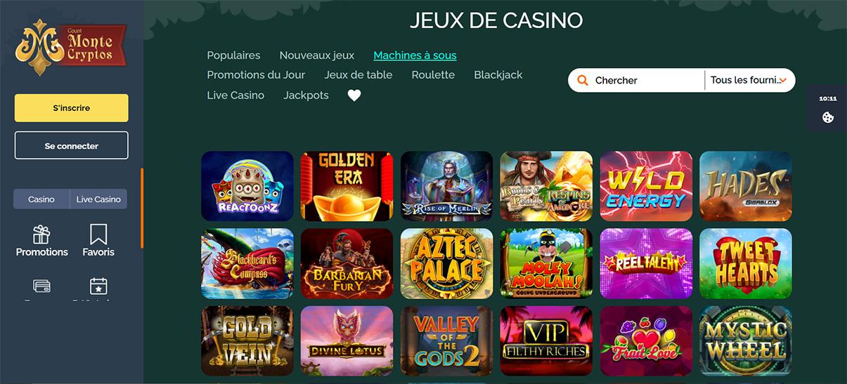 image de présentation machines à sous du casino Montecryptos en France