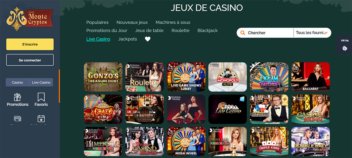 image de présentation live casino du casino Montecryptos en France
