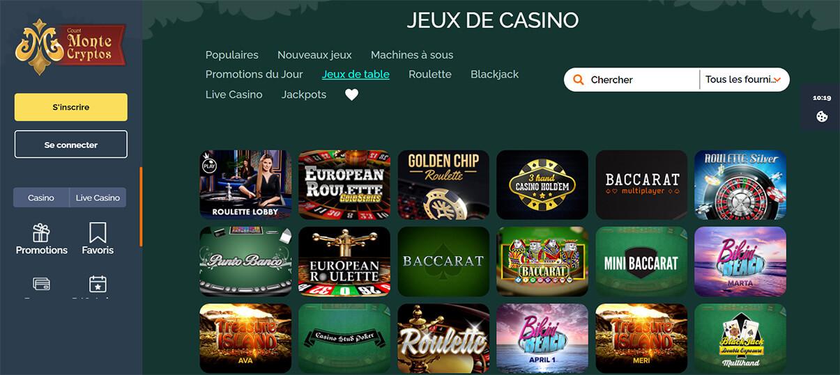 image de présentation jeux de table du casino Montecryptos en France