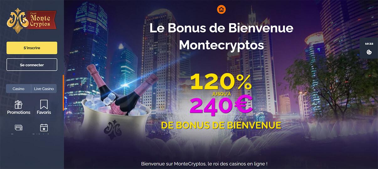 image de présentation bonus de bienvenue du casino Montecryptos en France