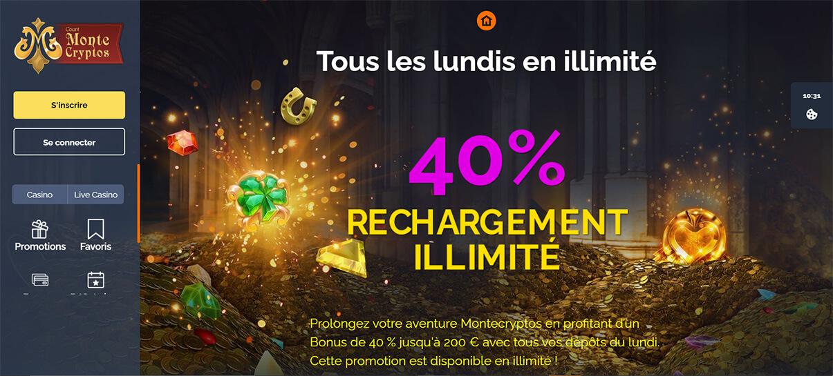 image de présentation défis du jours du casino Montecryptos en France