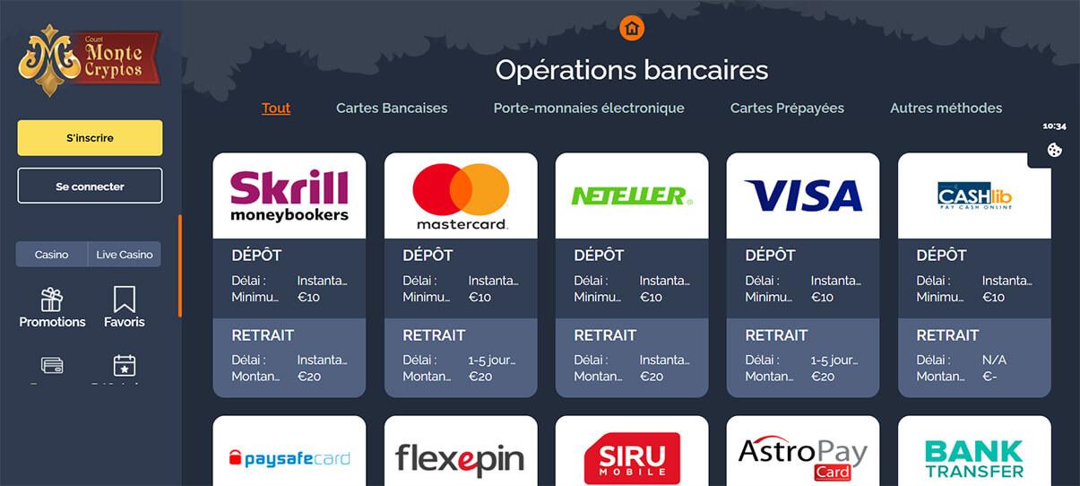 image de présentation moyens de paiements du casino Montecryptos en France