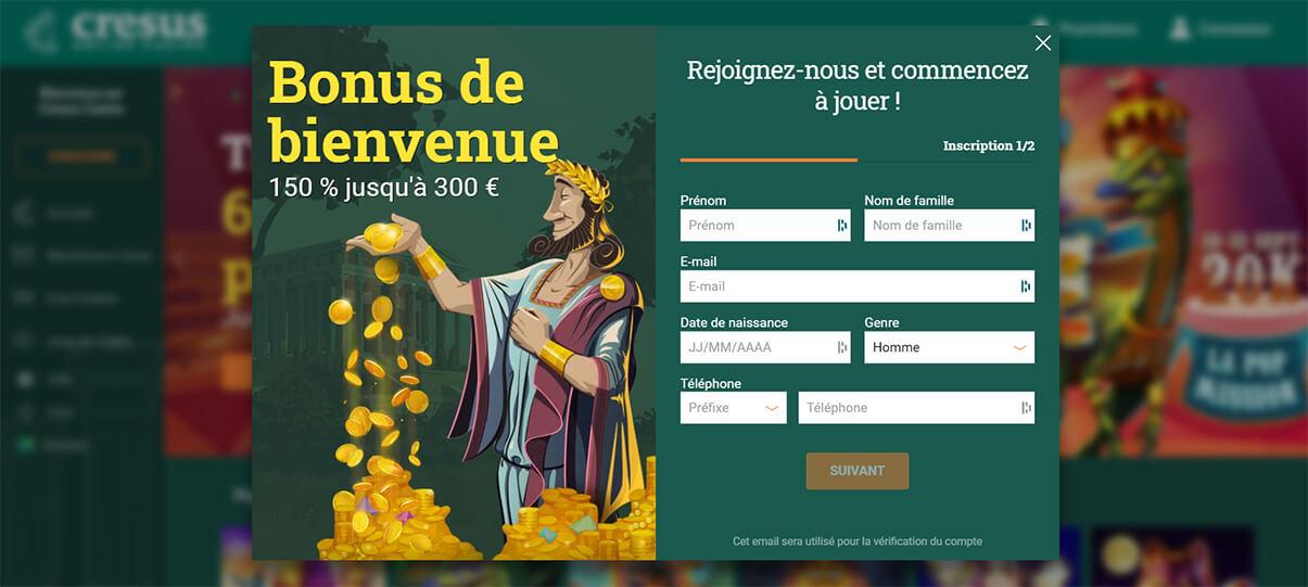 image de présentation inscription de Cresus Casino en France