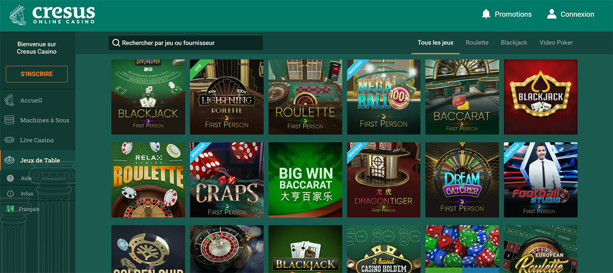 image de présentation jeux de table de Cresus Casino en France