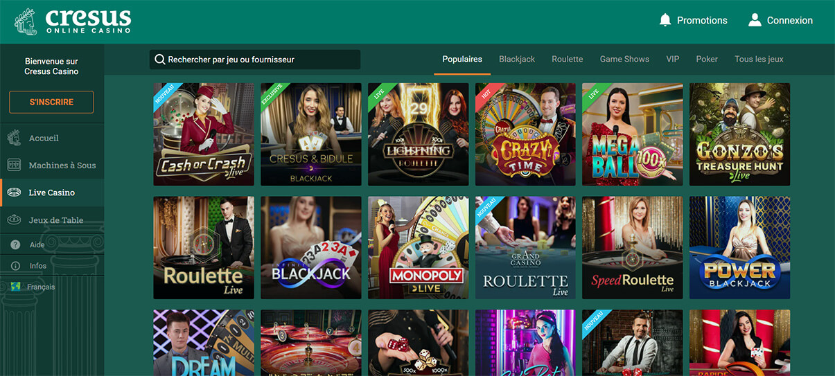 image de présentation live casino de Cresus Casino en France