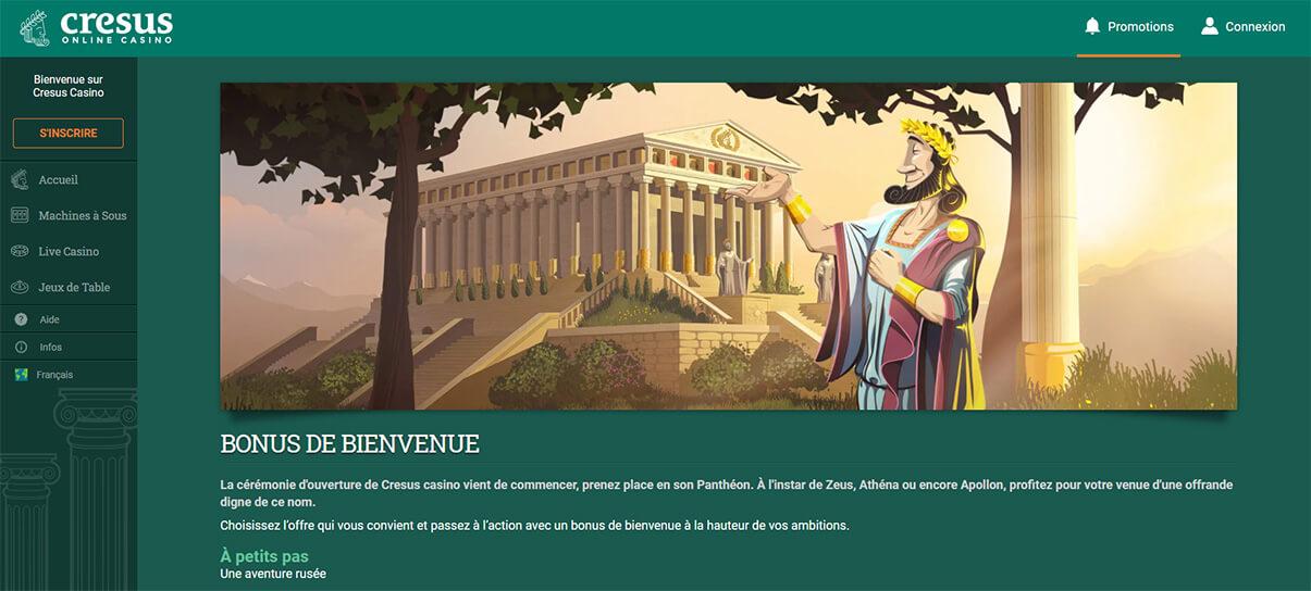 image de présentation bonus bienvenue de Cresus Casino en France