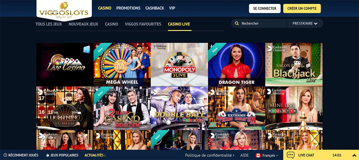 image de présentation live casino du casino viggoslots en France