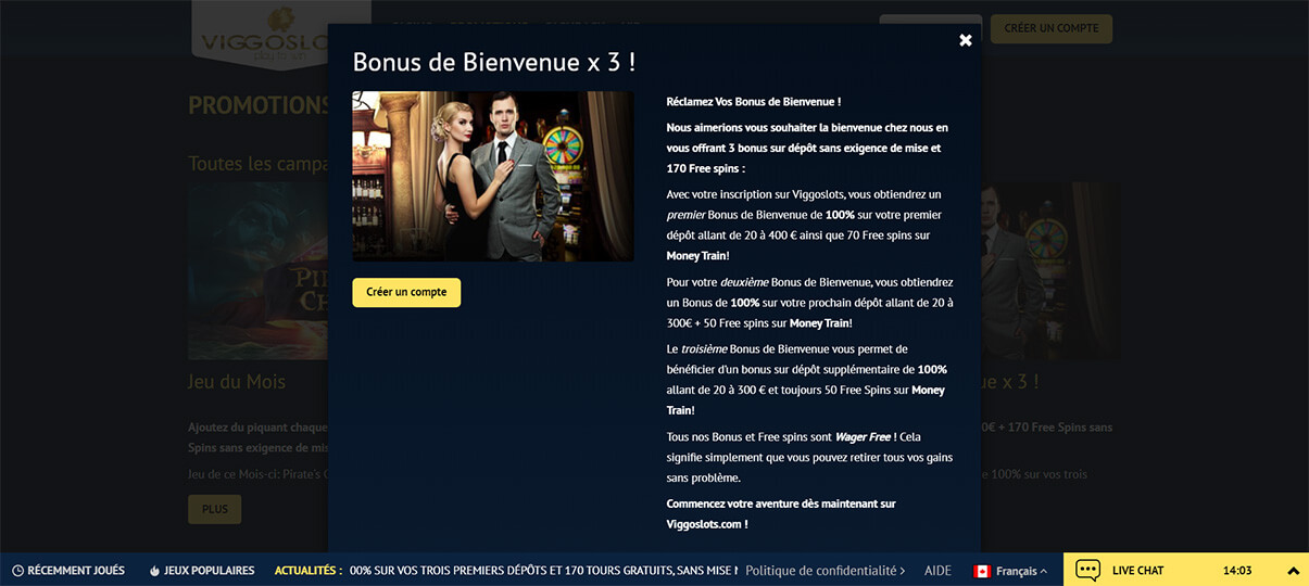 image de présentation bonus de bienvenue du casino viggoslots en France