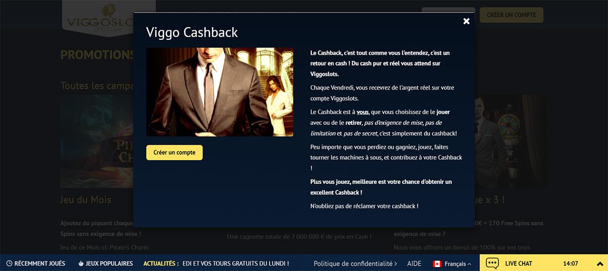 image de présentation cashback du casino viggoslots en France