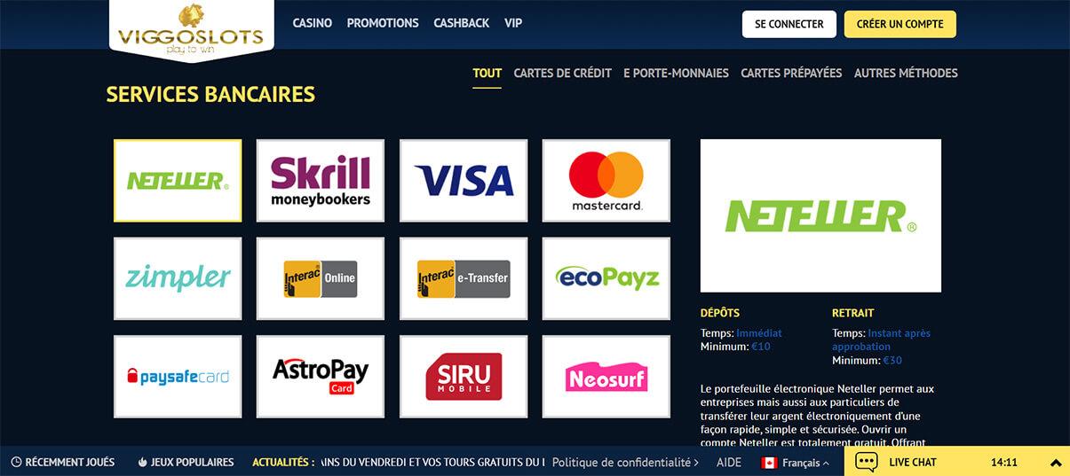 image de présentation moyens paiement du casino viggoslots en France