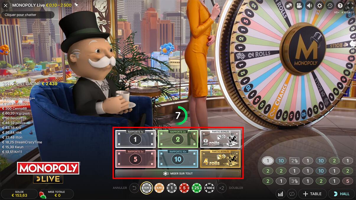 image de présentation des mises du jeu Monopoly Live