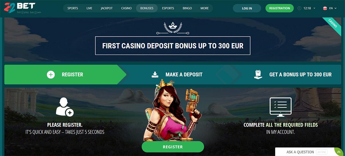 22bet казино бонус за добре дошли презентация изображение