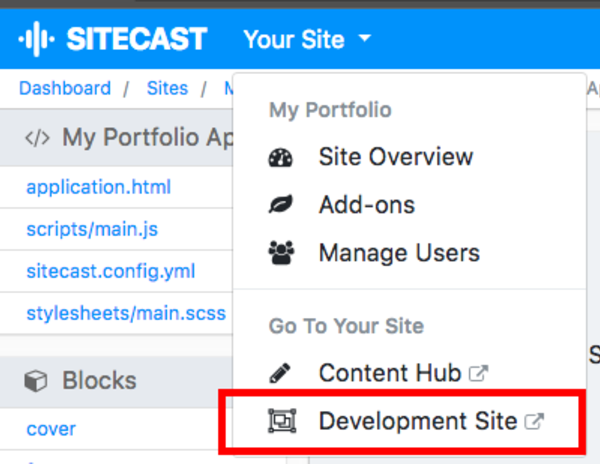 Sitecast Development Environment