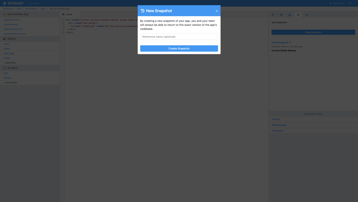 Sitecast Version Control New Snapshot