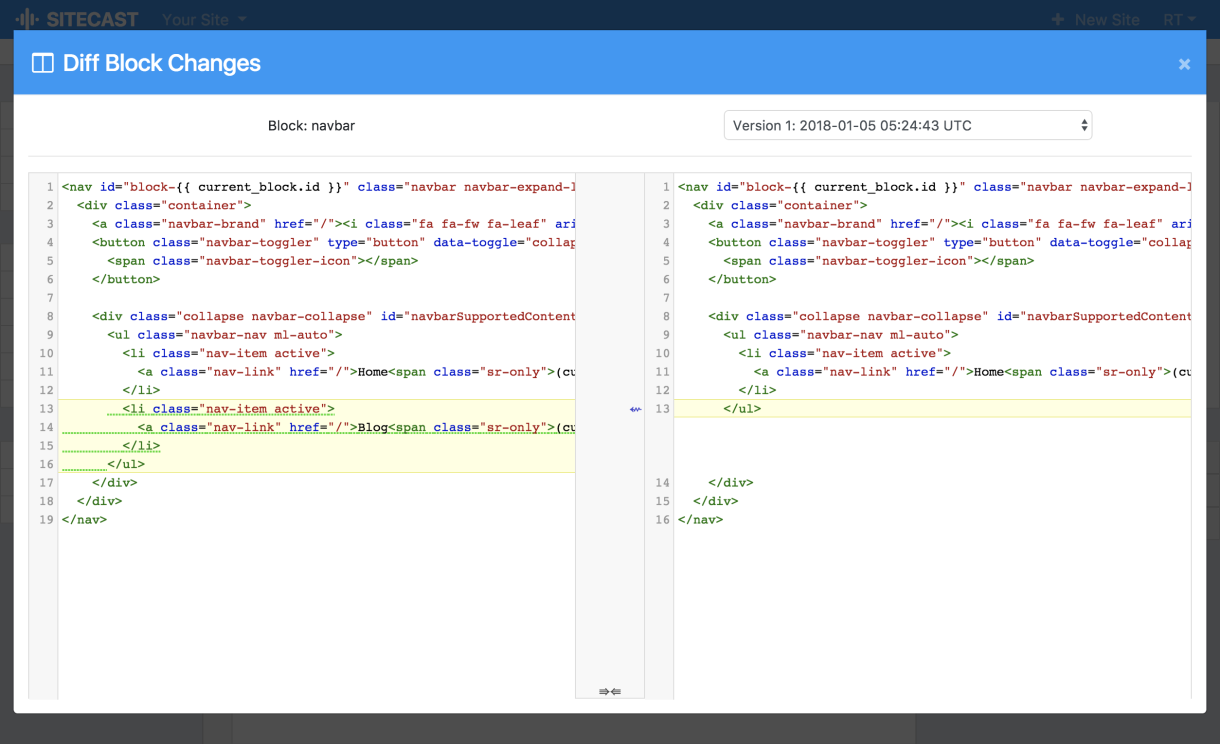 Sitecast Version Control Diff Tool