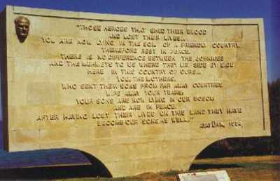 The famous and evocative monument at ANZAC Cove inscribed