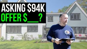 image text reads: asking $94K for a foreclosure, offer...?