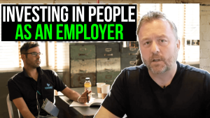 Text on thumbnail reads: Investing in people as an employer