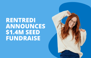 text reads: rentredi announces $1.4M seed fundraise