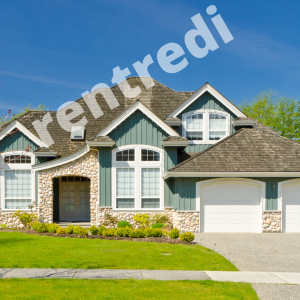 Property Listing Scams Image: house with rentredi logo big and semi-transparent