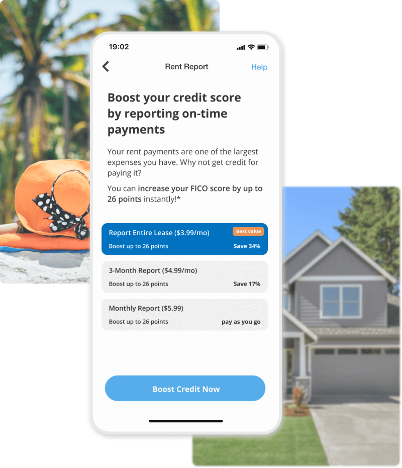 image shows rentredi tenant app rent reporting screen
